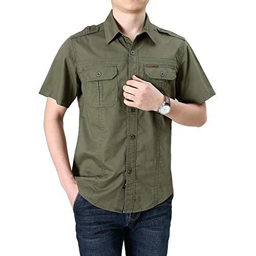 Camisa de Carga de Color sólido para Hombre Moda clásica de un Solo Pecho Tallas Grandes Ropa de Calle Tendencia Camping Camisa de Manga Corta Verano XXL