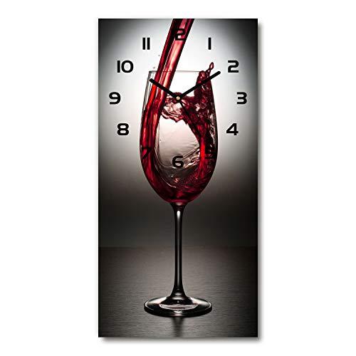 Tulup Reloj de pared reloj de cristal silencioso 30x60 cm vino tinto moderno hogar cocina