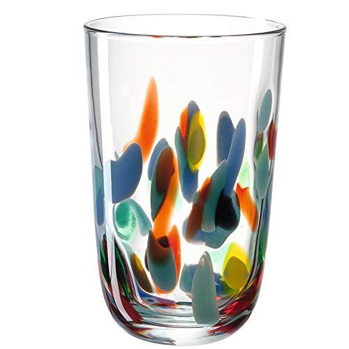 Leonardo Portofino Trink-Gläser, handgefertigte Wasser-Gläser, Trink-Becher aus Glas mit Muster, 4er Set, 430 ml, 020845
