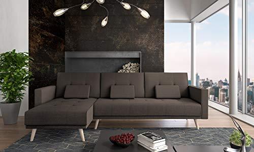 SelectionHome - Sofa Chaise Longue, convertible en cama, reversible, modelo Verona, acabado en Marron, medidas: 267 cm (ancho) x 88 cm (alto) x 137 cm (fondo)
