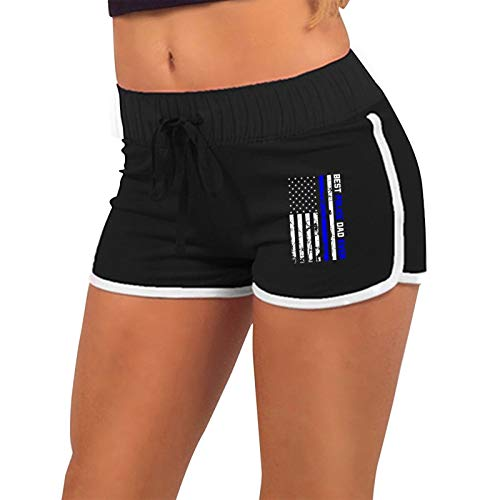 Best Police Dad Ever American Flag Women's Running Workout Booty Yoga Fitness Sports Club Shorts Hot Pants