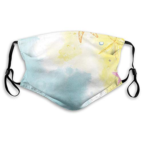 Comfortable Personal Windproof,Holiday In The Hawaii Watercolor Art Dreamy Seacoast With Colorful Starfishes,Printed Facial Decorations For Unisex