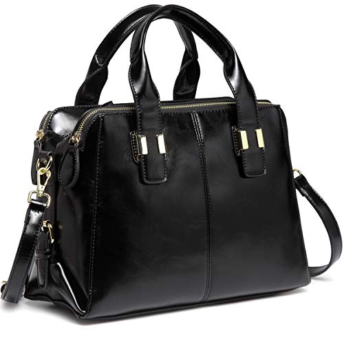 Satchel Bag for Women, VASCHY Faux Patent Leather Top Handle Handbag Work Tote Purse with Triple Compartments Black