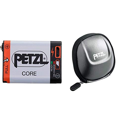 PETZL Core Akku für Stirnlampen mit Hybrid Concept und E93990 Erwachsene Schutzetui Beutel Tikka 2, Grau