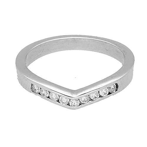 Palladium 950 0.20ct Diamond Channel Set Wishbone Eternity Ring (Maat J 1/2)