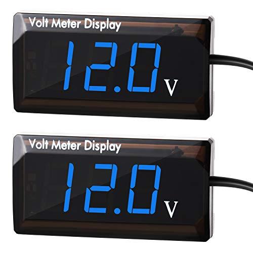 2 Pieces DC 12V Car Digital Voltmeter Gauge LED Display Voltage Power Energy Volt Meter for Car Motorcycle (Blue)