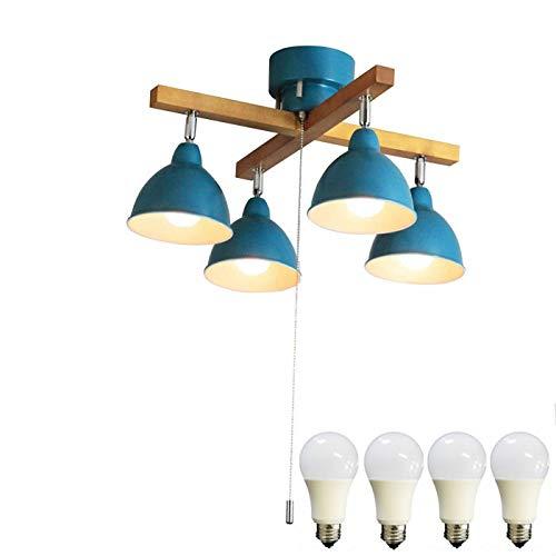 神戸マザーズランプ シーリングライト 照明器具 天井照明 4灯おしゃれクロスウッドバー KMC-4323【LED昼白色付属】 (ブルー)