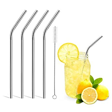 Reusable Drinking Straws,Set of 4,Stainless Steel Straws -Cleaing Brush Included