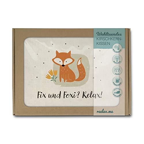 Kirschkernkissen als Wärmekissen o. Kühlkissen aus naturbelassener Baumwolle, 26x19cm. Handgenäht in Österreich im Handlettering-Stil im Geschenk-Karton. Fuchs, Fix und Foxi, Relax…