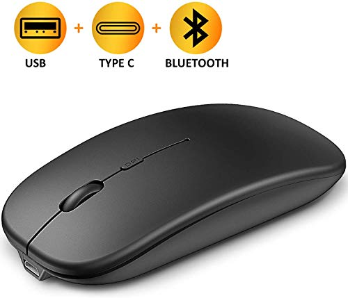 Cocoda Maus Kabellos, Wiederaufladbar Silent Click Bluetooth Maus, Funkmaus mit 4 DPI Stufige, Computer maus, 2.4 GHz Wireless Mouse mit USB C Nano Empfänger, Kompatibel mit Notebook/PC/Laptop/MacBook
