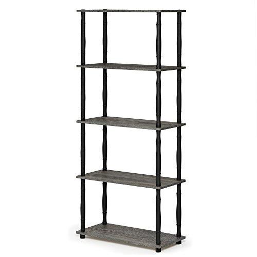 FURINNO 18032GYW/BK TurnNTube 5Tier Multipurpose Shelf Display Rack Classic French Oak Grey/Black