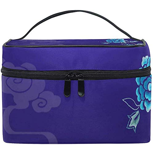 Schminktasche Morandi Peony Blue Tragbare große kosmetische Kulturtasche Train Case Organizer Box Pouch