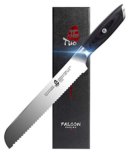 TUO Bread Knife 8 inch - Serrated Bread Slicing Knife Bread Cake Cutter German HC Steel with Pakkawood Handle -FALCON SERIES with Gift Box