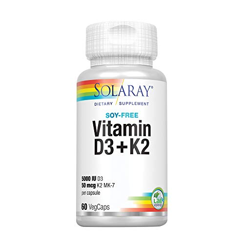 Solaray Vitamin D3 + K2 | D & K Vitamins for Calcium Absorption and Support for Healthy Cardiovascular System & Arteries | Non-GMO & No Soy | 60 CT