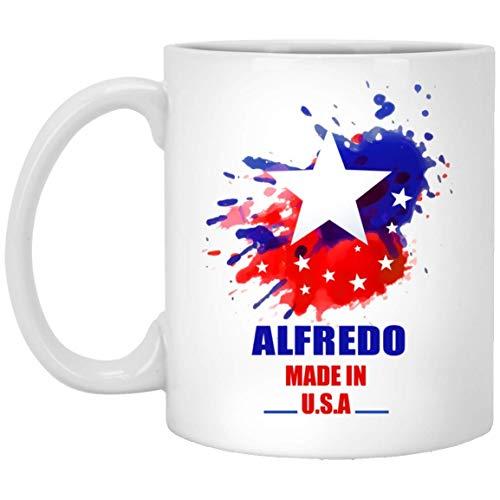 N\A Unser Name ist Schlammbecher für Männer, Frauen - Alfredo Made In USA Flagge Aquarell - Lustige Zitat Kaffeetasse Für Ihn, Sie An Weihnachten - Weiße Keramik