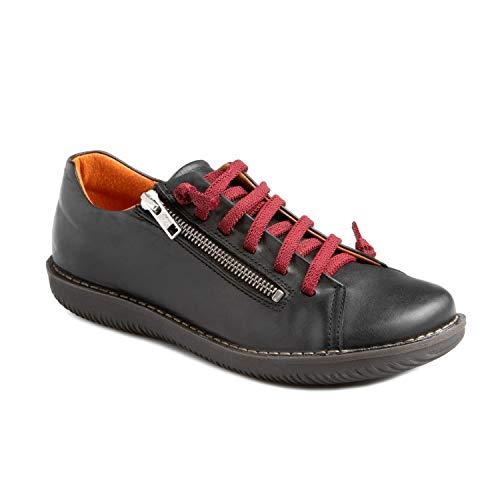 CHACAL – Zapato Casual para Mujer de Piel en Color Granate o Negro con cordón elástico y Cremallera para un Calzado fácil – Tallas EU 36 a EU 41