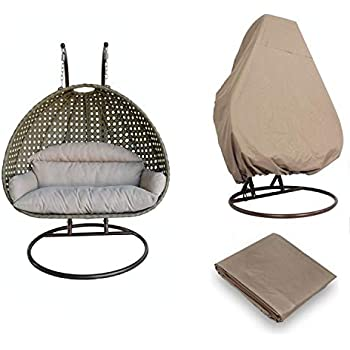 Island Gale Luxury 2 Person Outdoor, Patio, Hanging Wicker Swing Chair ((2 Person) X-Large-Plus, Latte Rattan/Latte Cushion W/Cover)