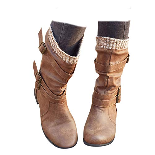 Swiusd Women's Low Heel Mid Calf Boots Retro Strap Buckle Closed Toe Knight Boots Comfy Combat Style Fall Warm Outdoor Western Shoes (Brown, 7.5)