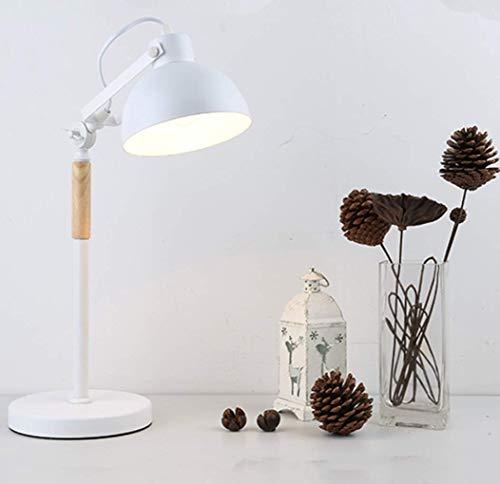 Sencillo Industrial Lámpara de mesa Clásico Madera Luz de trabajo Retro Clásico hierro Lámpara de aprendizaje Oficina Para estudiar Habitación Luz para leer Lámparas de escritorio H48 * D20CM,Blanco