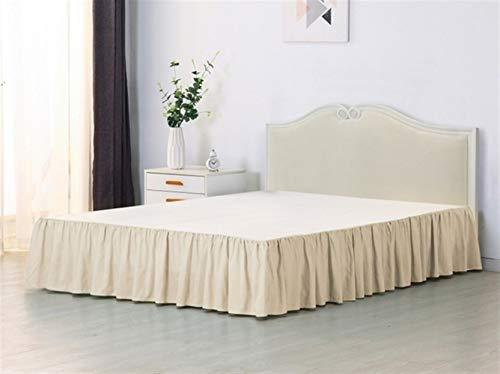 YOBAIH Lychee 1PC Bed Rock, 35 cm hoch mit Oberflächenmassiv Bett Rock, geeignet for Familien-Hotels Bettrock Mit (Color : Beige, Size : US K 200x203cm)