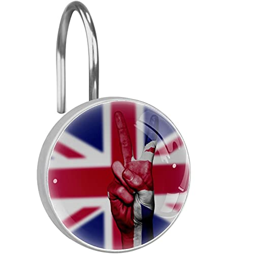 Duschvorhanghaken,UK-Flagge-Sieg witzig Kristallglas Dekoratives Badezimmer Edelstahl Haken Set von 12