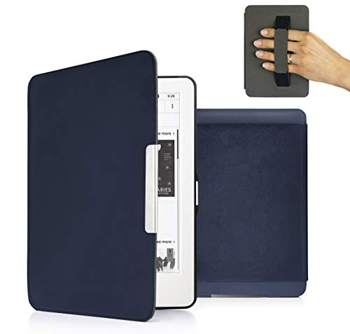 MyGadget Custodia per Amazon Kindle Paperwhite 7 dal 2012 al 2017 - Cover Impermeabile con Funzione Sonno/Sveglia automatica Integrata Eco-pelle Blu Scuro