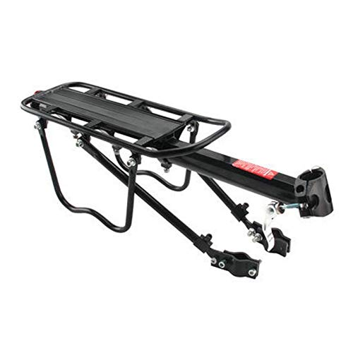 QWE Bicicleta Trasera portadora Porta Rack Ajustable Bicicleta Trasero Negro Soporte de Asiento Equipaje Portador de Carga con Reflector 50kg Capacidad (Color: Negro) DOISLL (Color : Black)