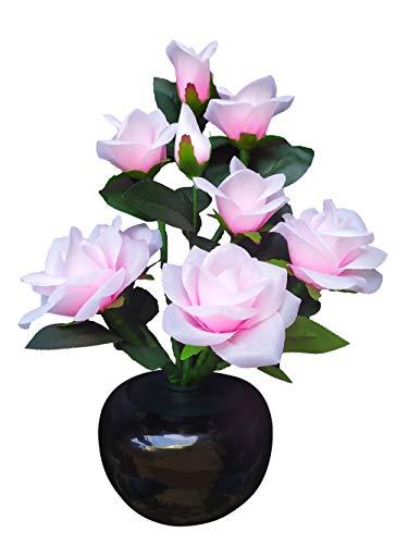 CROSOFMI Kunstblumen im Topf Rosa Rose Künstliche Blumen für Geburtstag Dekoration Wohnung Modern Schlafzimmer Deko Wohnzimmer RGB-Farbtransformation Nachtlicht