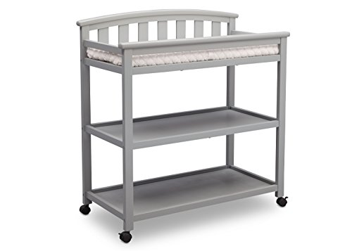 Delta Children Arch Top Changing Table with Wheels and Changing Pad, Grey