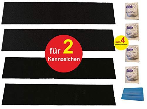 2er SET Klett Nummernschildhalterung Rahmenlos Kennzeichenhalter selbstklebend - unsichtbar ohne Rahmen - Autokennzeichen Halterung - Witterungsbeständig und UV Beständig Nummernschildhalter Pkw