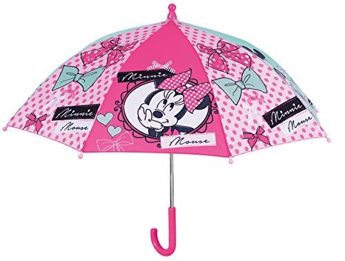 Minnie Mouse Regenschirm für Mädchen, 38 cm, manuell, Safety Open Minnie Camping, Wandern, Mädchen, Mehrfarbig (Mehrfarbig), Einheitsgröße