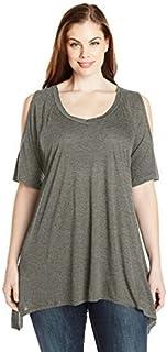 Paper + Tee Women's Plus-Size V-Neck Cold-Shoulder Uneven Hem Top