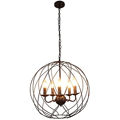 Unitary Brand Vintage Black Metal Globe Shape ORB Dining Room Candle Chandelier with 5 E12 Bulb Sockets 200W Painted Finish