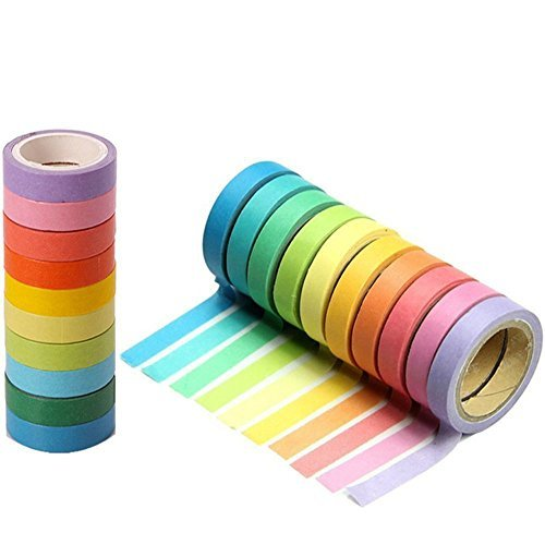 Masking Tape,Craft Multi Colored Masking Tape [20 Rolls Variety Set - Assorted Color Coded Rolls]- Fun DIY Arts Supplies Kit M-jump 33FT Washi Tapes for Arts and Crafts, Scrapbook Masking Paper