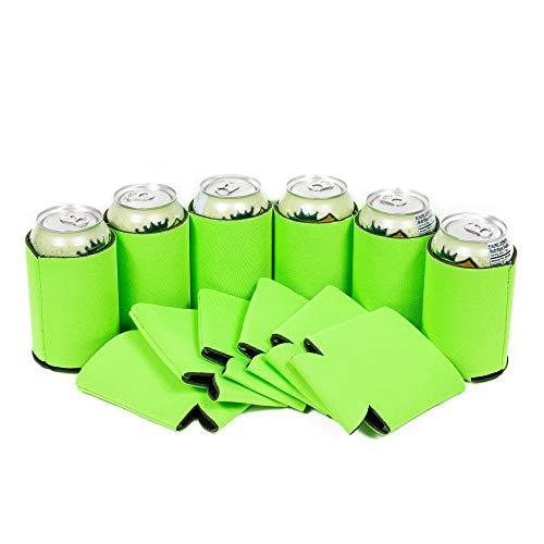 QualityPerfection 12 neongrüne Bierdosen-Kühlhüllen, 340 ml, normale Neopren-Dose, Coolie, faltbare Economy-Isolierung mit Nähten für Veranstaltungen, individuelle DIY-Projekte (12, neongrün)