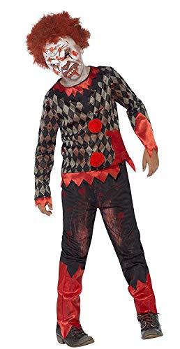 Smiffys-44293L Disfraz de payaso zombi deluxe, con careta de látex, parte de arri, color rojo y verde, L-Edad 10-12 años (Smiffy's 44293L)