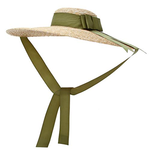 Vintage Straw Hat Women's Wide Brim Summer Beach Sun Hat w/Bowtie Ribbon Green