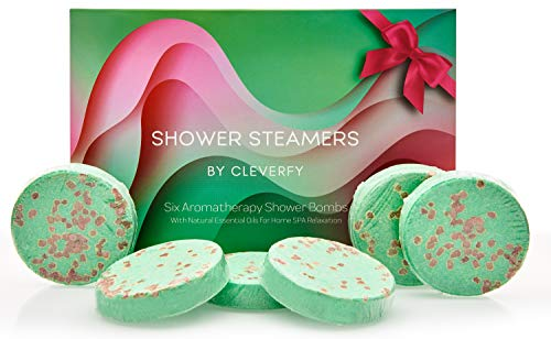 Cleverfy Aromatherapy Shower Steamers - Set of 6 Shower Bombs with Essential Oils for Relaxation and Nasal Congestion. Green Waves Set: Eucalyptus and Menthol Aroma 30g