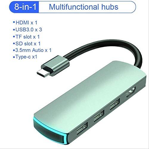 YGB 【Le Nouveau 】 Hub de Type C Hub USB C vers Hdmi Ports USB 3.0 Port USB 2.0 Port Lecteur de Carte SD/TF Alimentation USB-C pour MacBook Pro 3.1 Splitter 8 en 1 HUB