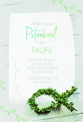 Karte Patenkind zur Taufe, mit kleinem Innentext, Taufkarte Junge, Taufkarte Mädchen, Glückwunschkarte Taufe | DIN B6 | 17,1 x 11,7cm | Karte mit Umschlag, Motiv: Fisch