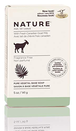 Nature by Canus Pure Vegetal Base Soap with Fresh Canadian Goat Milk, Fragrance-Free, 5 Oz bar Canus Goats Milk Moisturizing