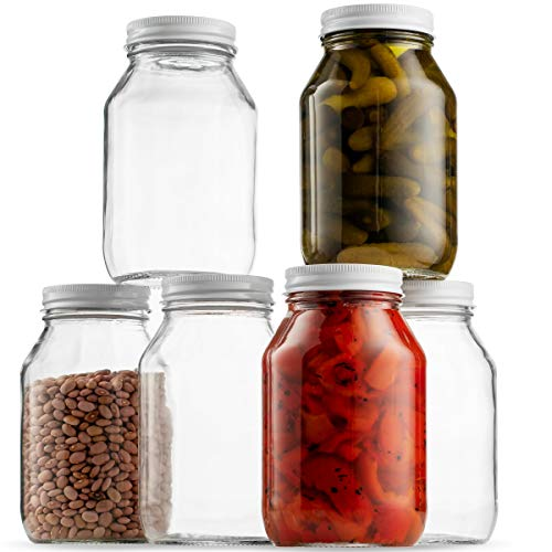 Glass Mason Jars (6 Pack) - Regular Mouth Jam Jelly Jars, Metal Airtight Lid, USDA Approved Dishwasher Safe USA Made Pickling, Preserving, Decorating, Canning Jar, Craft and Dry Food Storage (32 Ounce