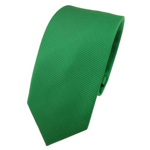 TigerTie TigerTie Schmale Designer Krawatte grün leuchtgrün Uni Rips - Binder Tie