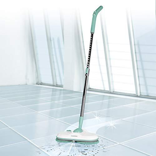 CLEANmaxx Akku-Spray-Mopp mit 2 rotierenden Reinigungspads E-Power | Kabelloser Bodenwischer mit Sprühfunktion, 200ml Wassertank | Inkl. 4 Reinigungspads [ Doppelte Rotation, türkis]