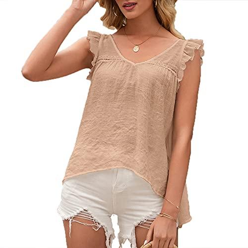 FrüHling Und Sommer Damen Casual Fashion V-Ausschnitt Einfarbig Einfache Hohl SüßE Baby Shirt äRmellose Weste T-Shirt Top Frauen