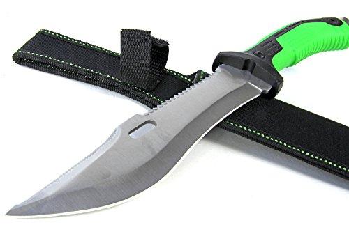 Nerd Clear Jagd-Messer Bowiemesser XXL 32 cm lang Buschmesser mit Web Silber Klinge für Survival Camping und Outdoor