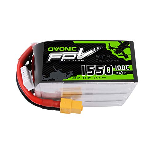 Ovonic 1550mAh 22.2V 6S 100C Lipo Battery for XT60 Plug for FPV Racing RC Quadcopter Helicopter Airplane Multi-Motor Hobby DIY Parts