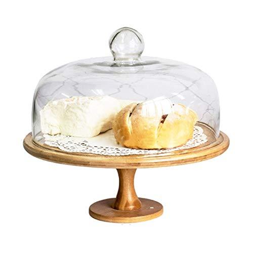 JISHIYU Plato de la porción de madera con cúpula de pastel de vidrio, soporte multifuncional de pastel de pastel para pasteles reutilizable para pastelería, ensalada, plato, bollo de perforación, plat