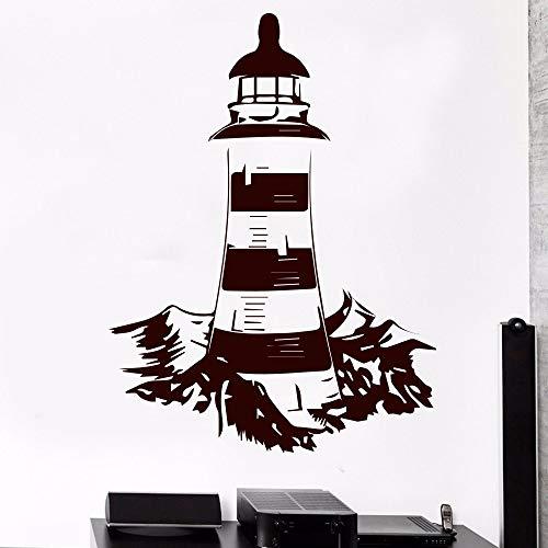 Faro clásico mar náutico etiqueta de la pared para sala de estar decoración vinilo arte de la pared Mural dormitorio decoración blanco XL 58 cm X 77 cm