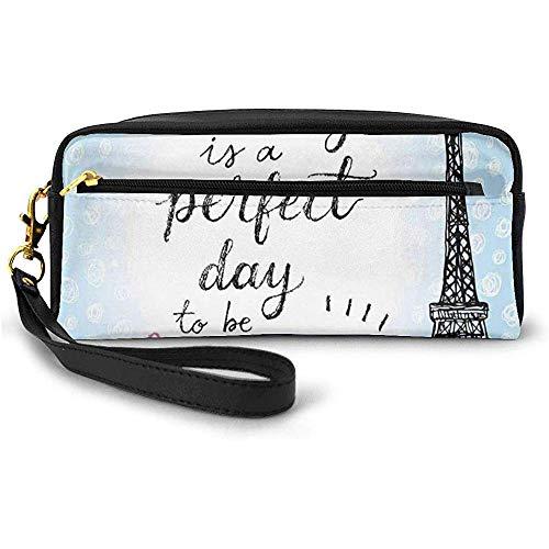 Perfect Day Eiffel Tower Polka Dot Handwriting Typography Sketch Paris Print Small Makeup Bag Pencil Case 20cm * 5.5cm * 8.5cm